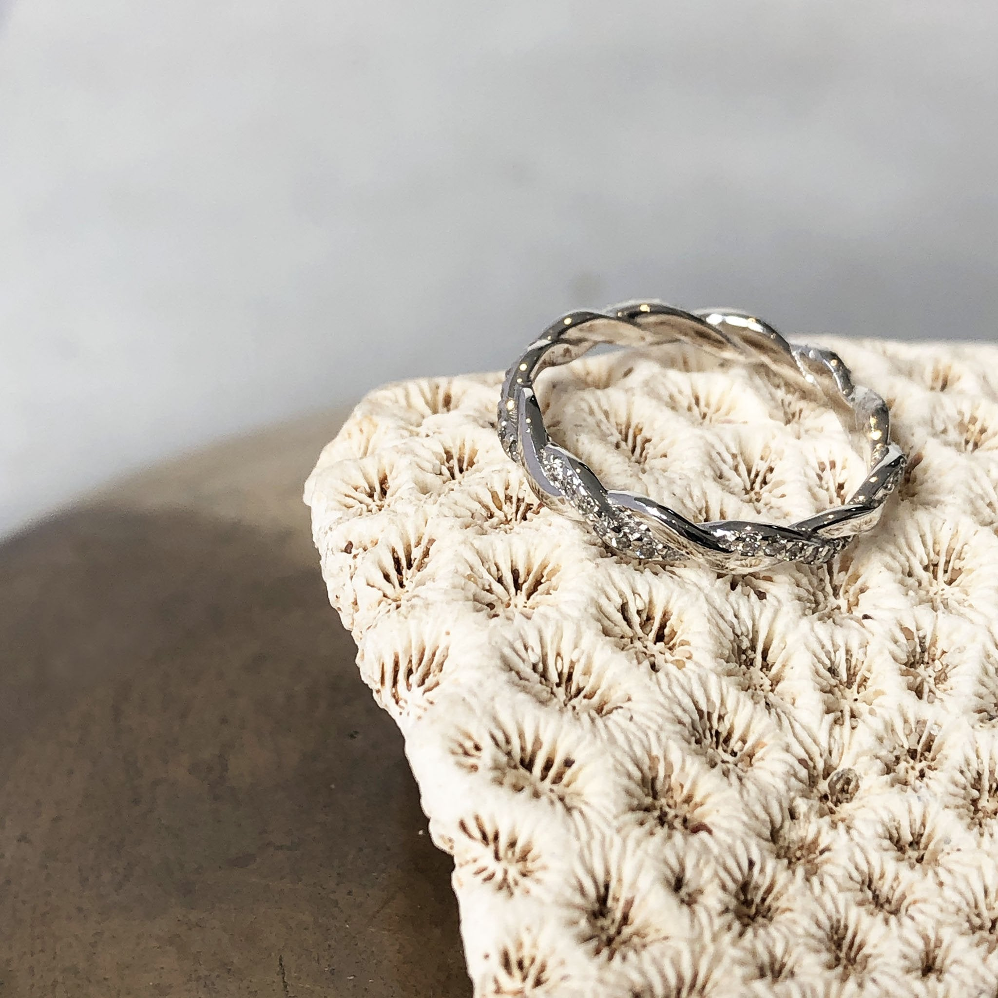 Braided Diamond and White Gold Band Ring