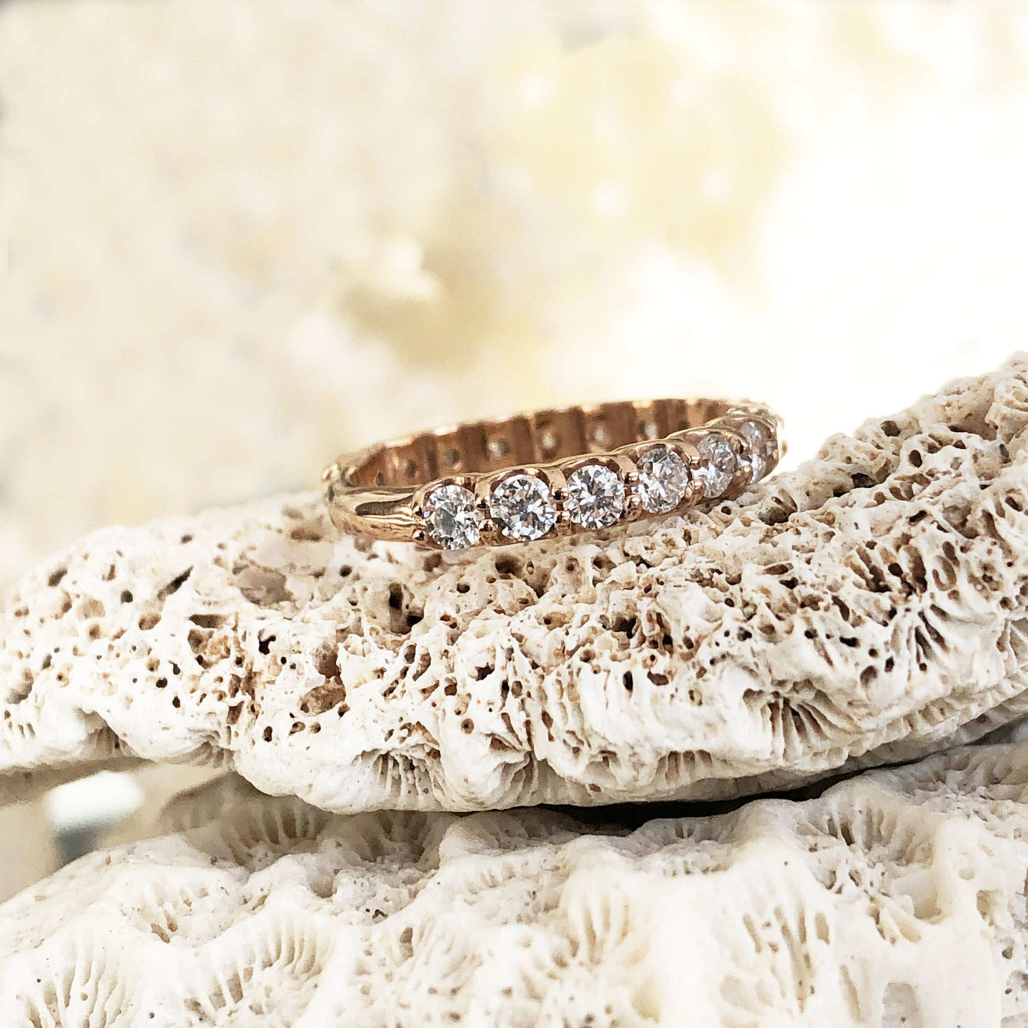 Rose Gold 17 Diamond 3/4 Eternity Band