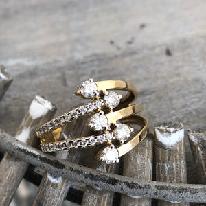 Diamond and Yellow Gold Multiband Ring