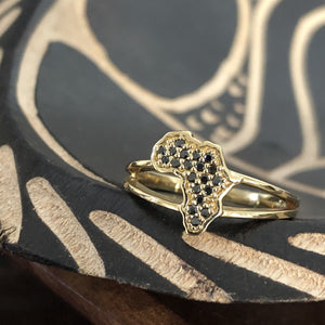 Africa Black Diamond Split Band Ring