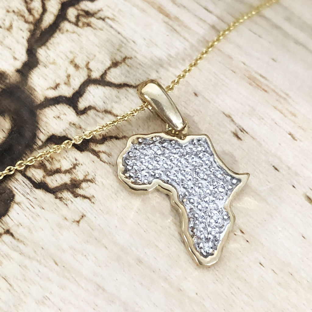 Pavé Set White Diamond Africa Map Pendant