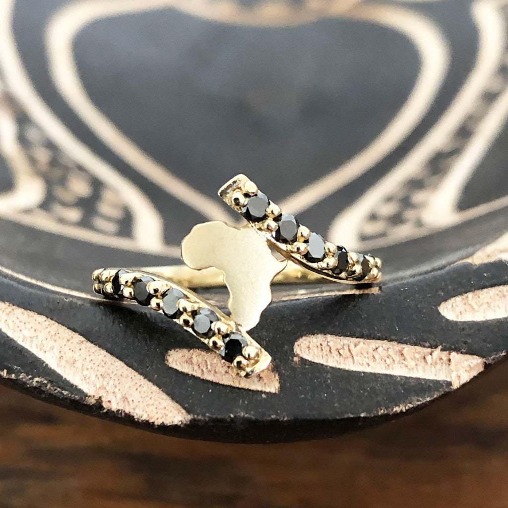 Gold Split Band Africa Map Ring with Black Diamond Embellishment