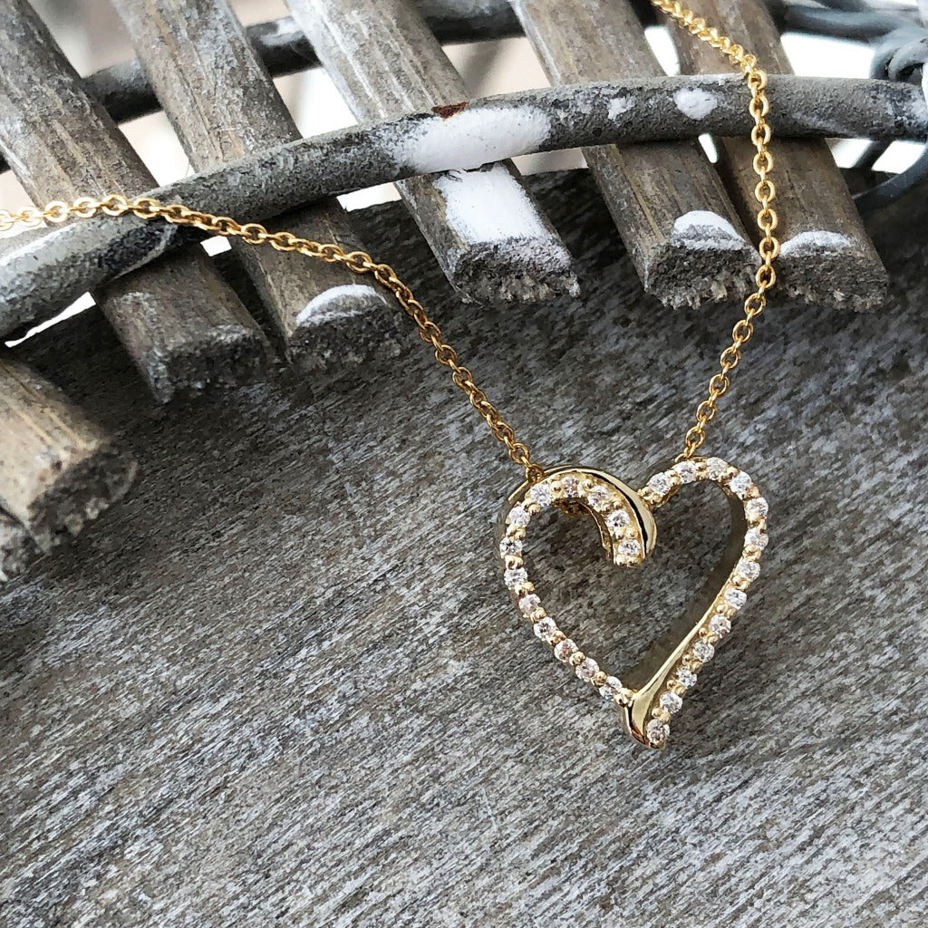 Yellow Gold Diamond Heart Outline Pendant