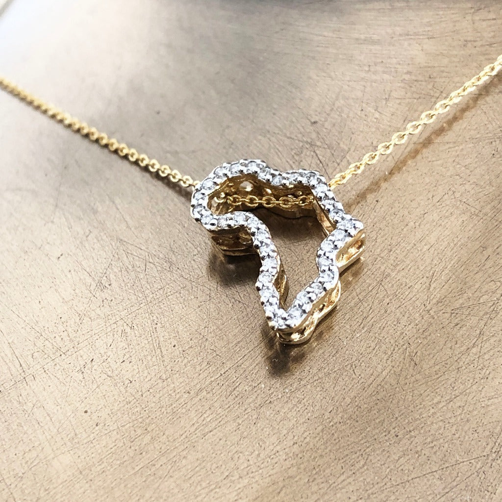 Diamond Studded 9-carat Gold Africa Pendant