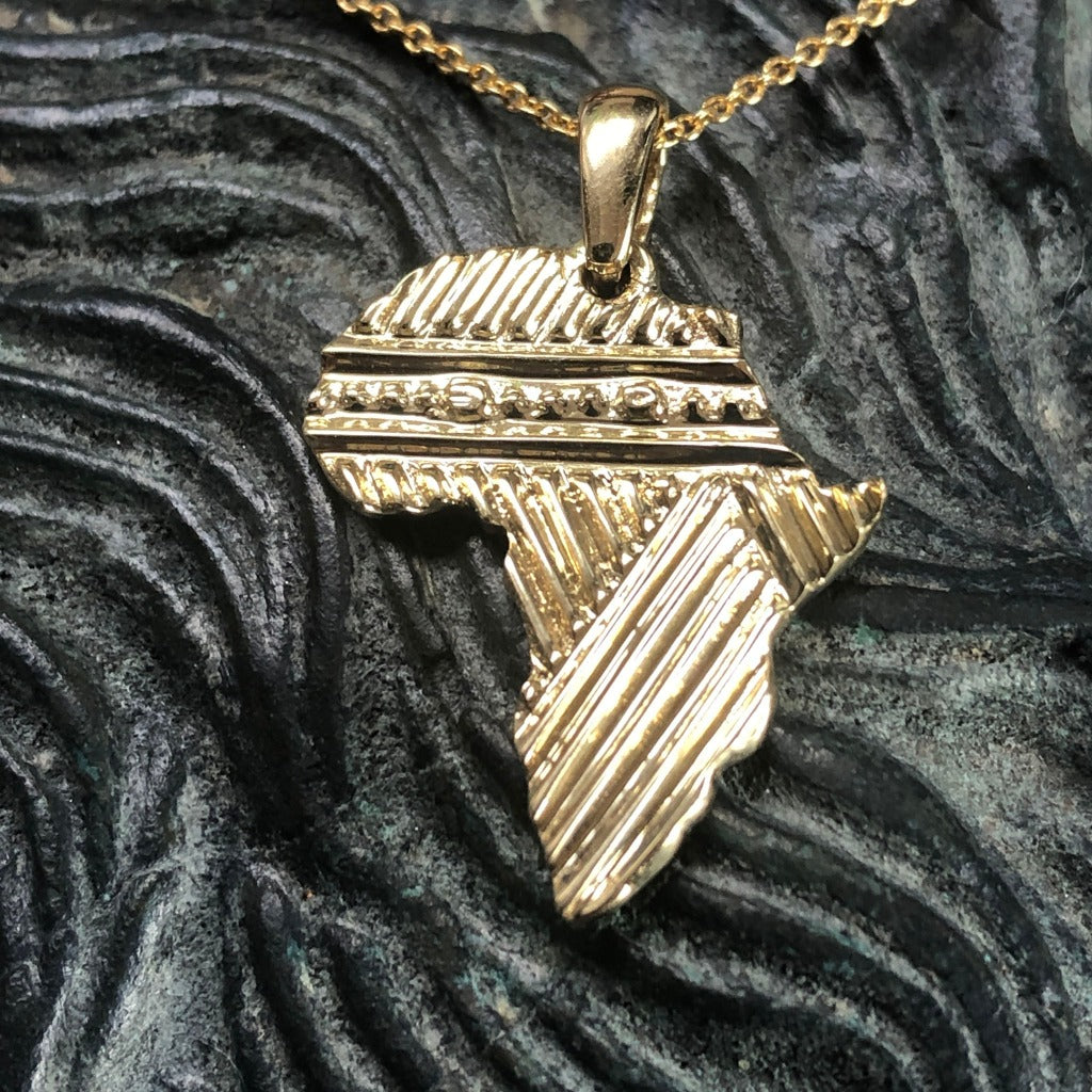Patterned Solid Gold Africa Pendant