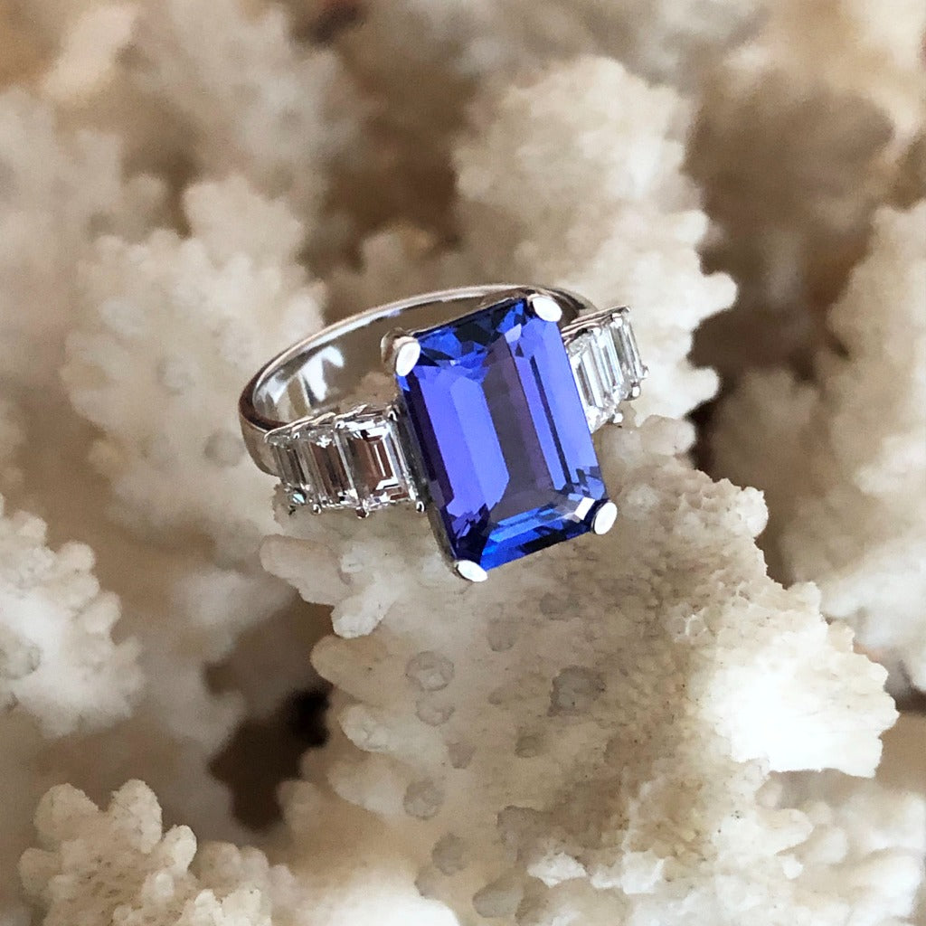 Octagonal Emerald Cut Tanzanite and Baguette Diamond Ring