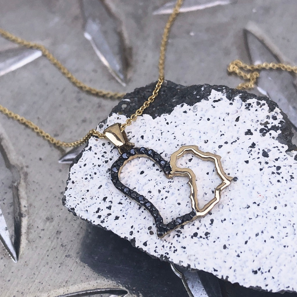 I Love Africa Black Diamond and Gold Pendant
