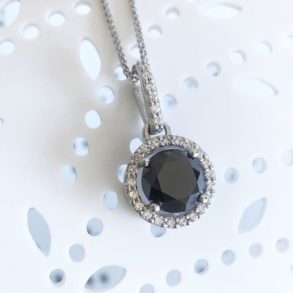 Round Cut Black Diamond Pendant with White Diamond Halo