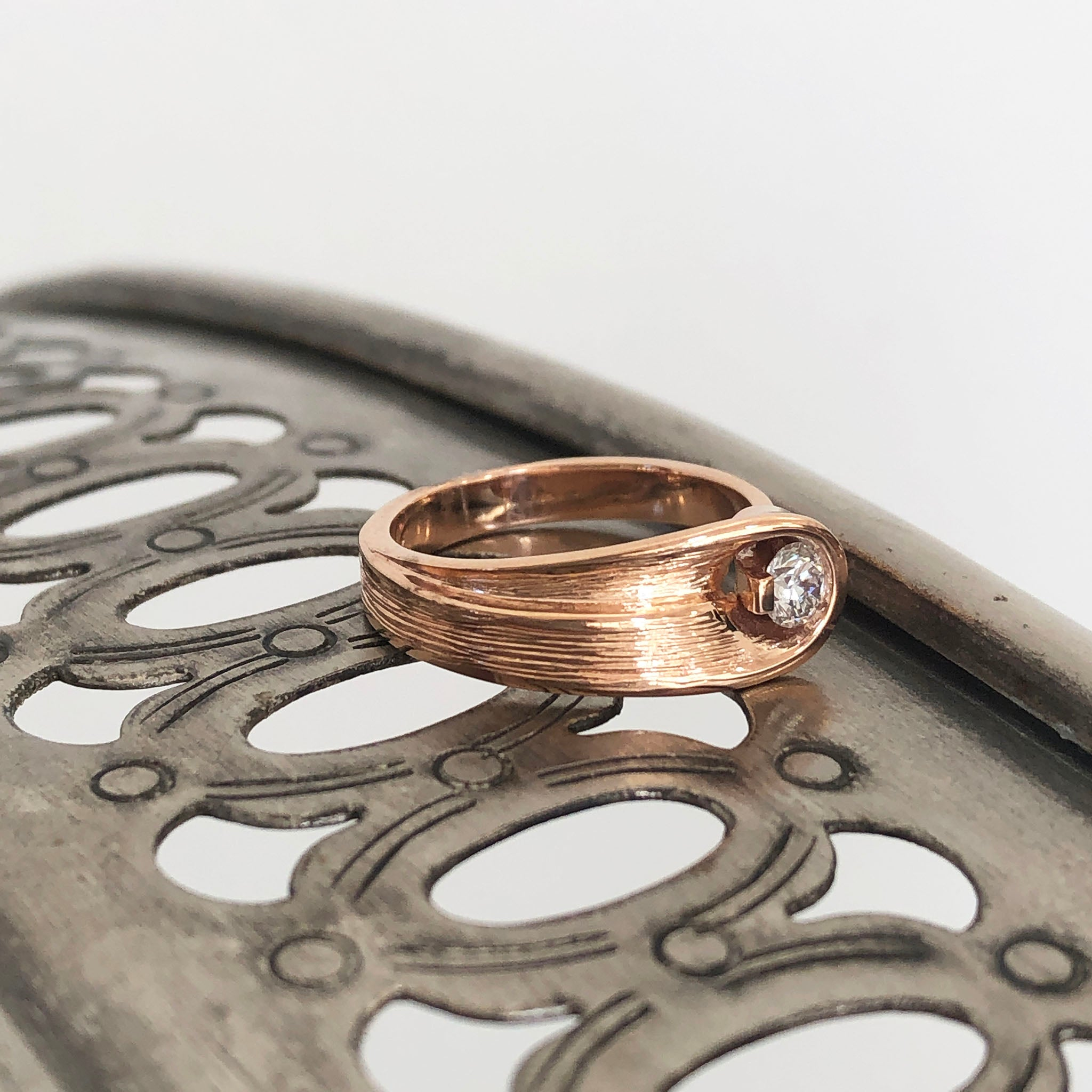 Organic Flow Rose Gold and Diamond Ring