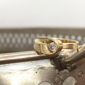 Organic Flow Yellow Gold and Diamond Ring