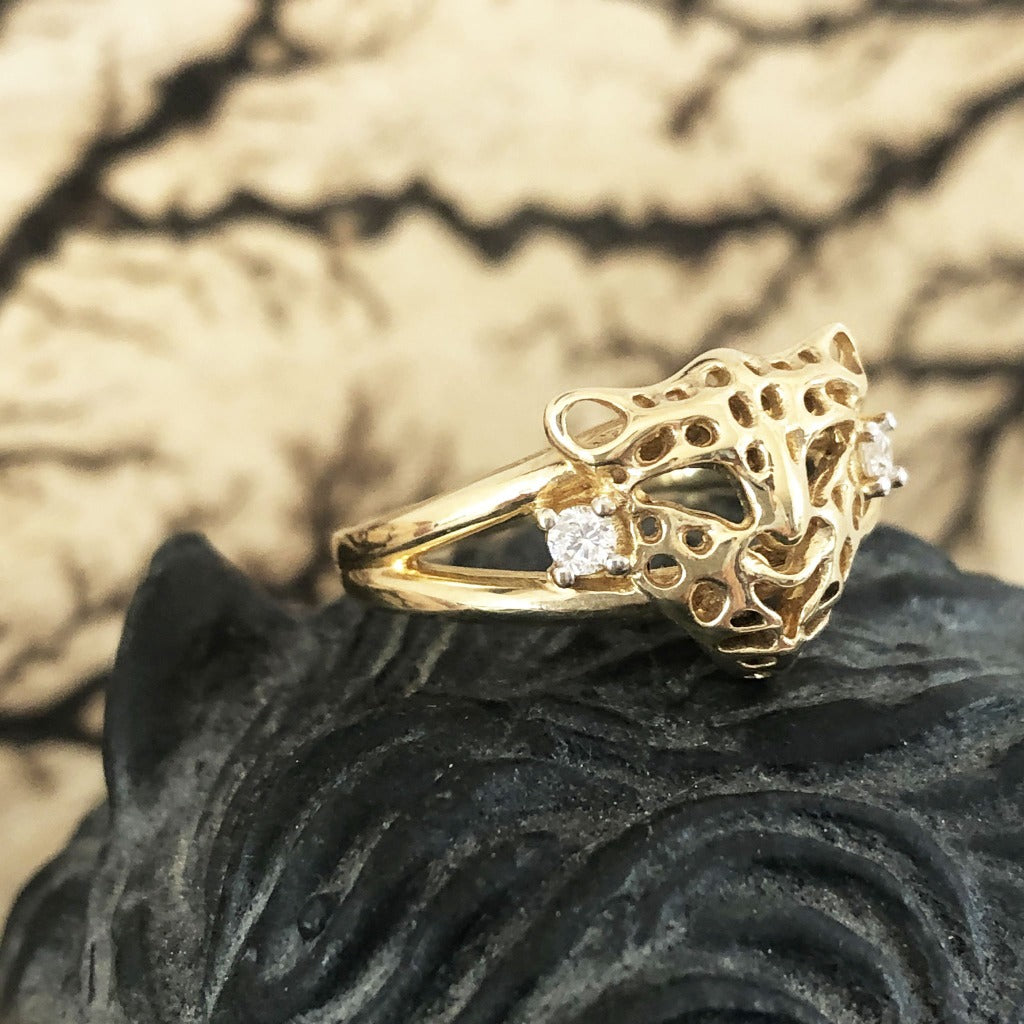 Gold Leopard Head Ring with Diamond Accents