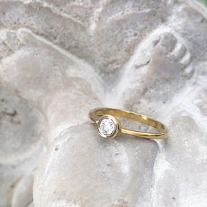 Tube Set Diamond Solitaire Engagement Ring in Yellow Gold