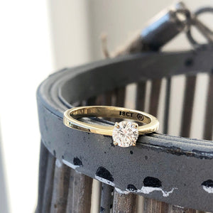 Four Claw Solitaire, Yellow Gold, Diamond Ring