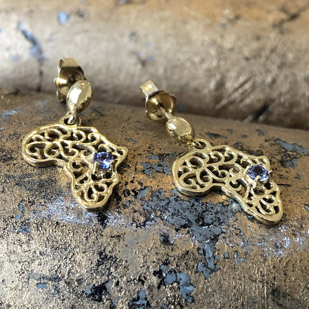 Decorative Filigree Africa Map Earrings with Tanzanite Accents