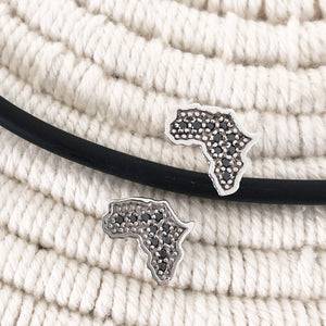White Gold Africa Earrings with Interior Black Diamond Detail