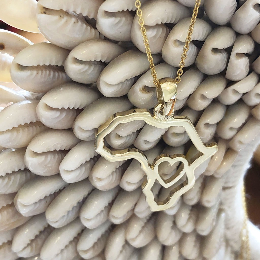 Africa Map Outline with Heart Detail Pendant