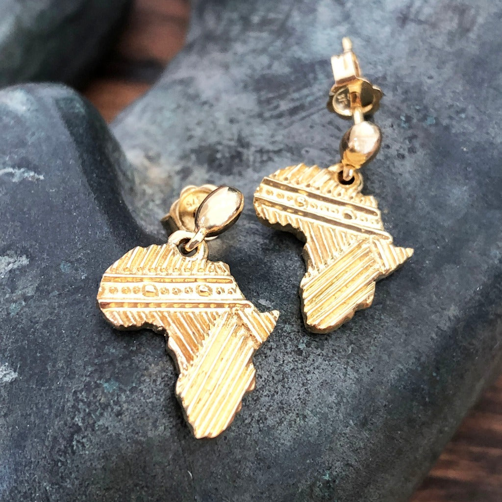 Patterned Solid Gold Africa Earrings