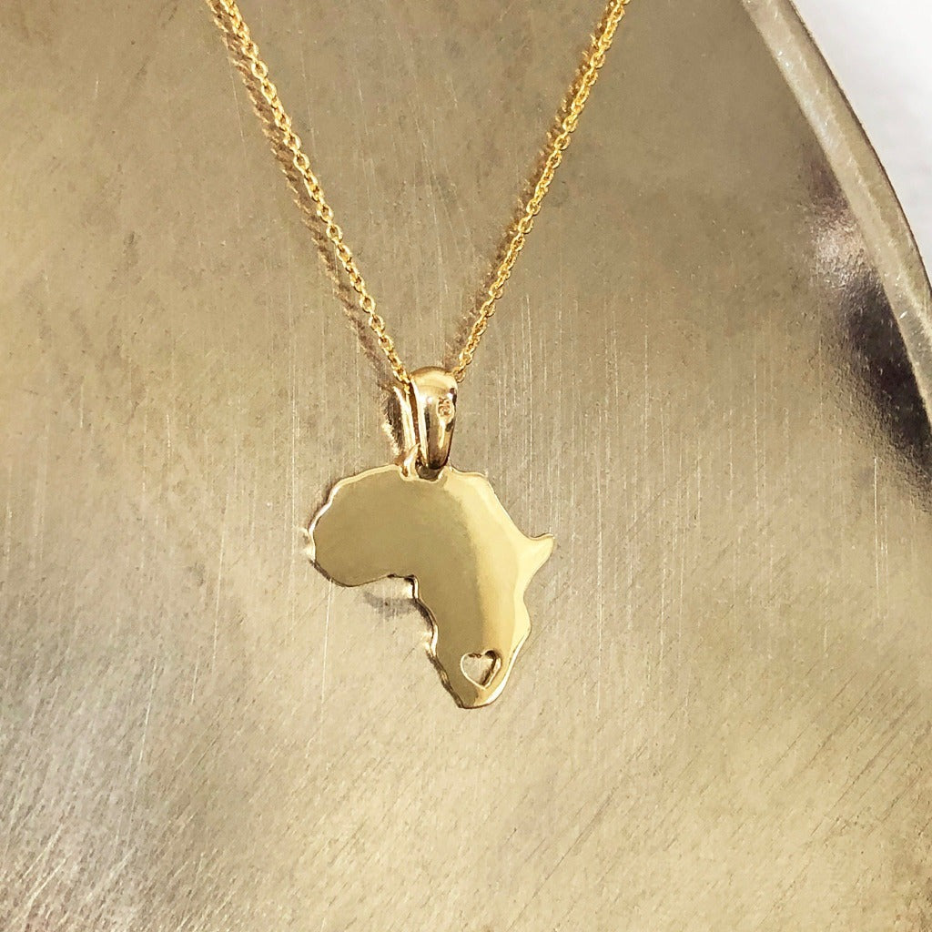 Solid Gold Africa Map Pendant with Stencil Heart Detail