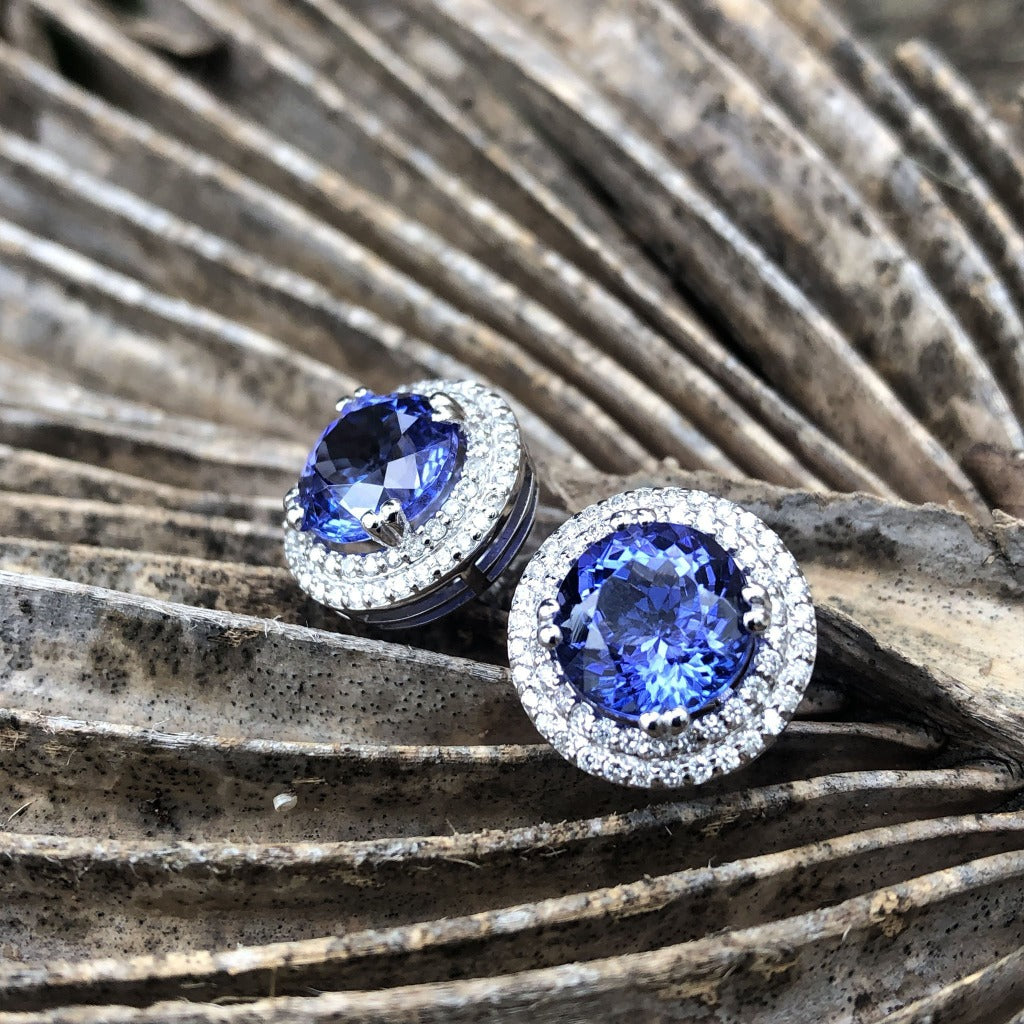 Scintillating Tanzanite and Double Diamond Halo Earrings