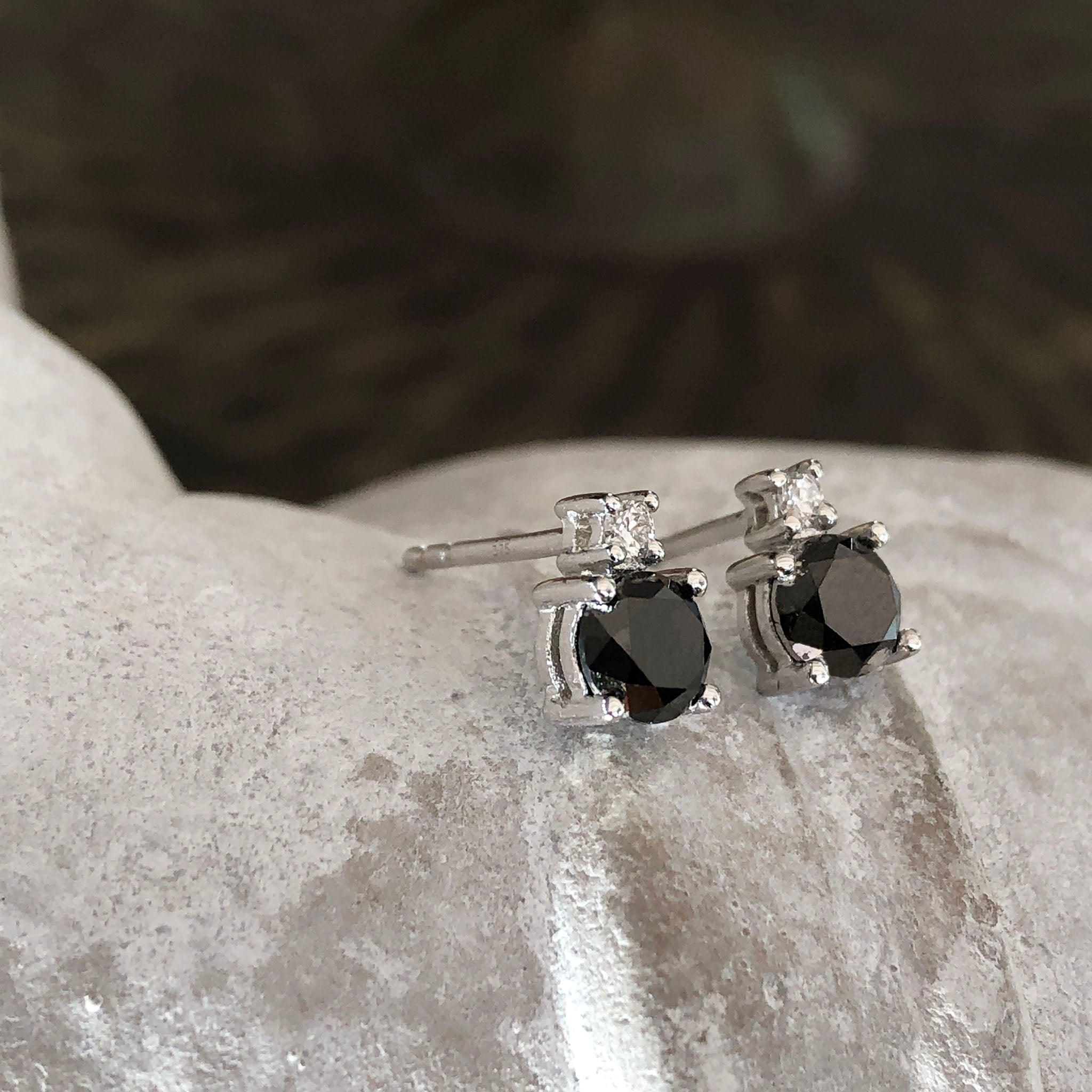 Black Diamond Studs with Petite White Diamond accent