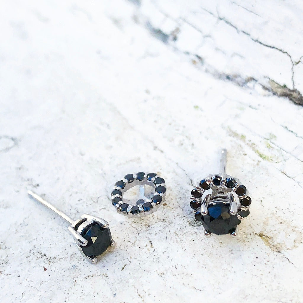 Black Diamond Studs with Detachable Black Diamond Halo Jacket