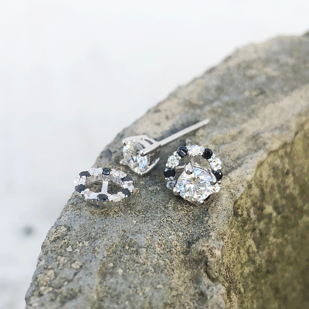 White Diamond Studs with Black and White Diamond Detachable Jackets