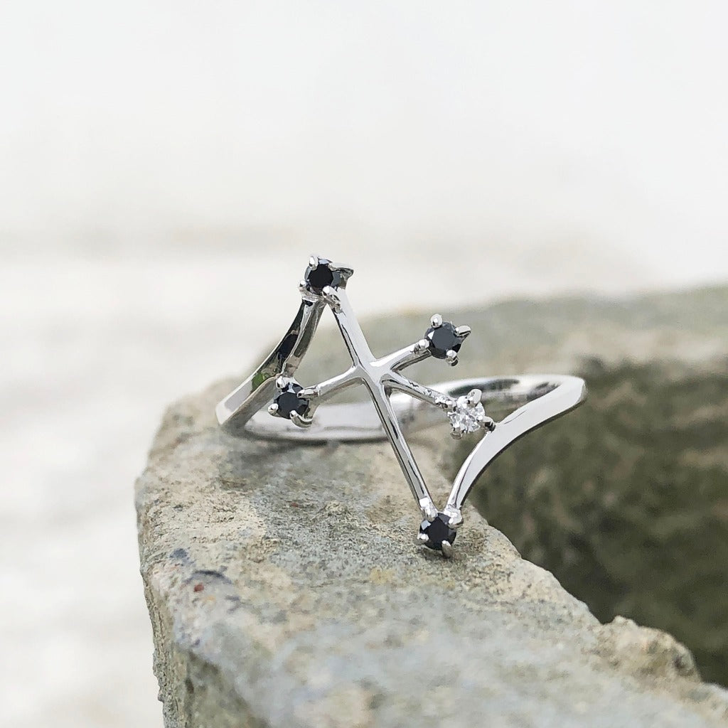 Distinctive Southern Cross Black Diamond Ring