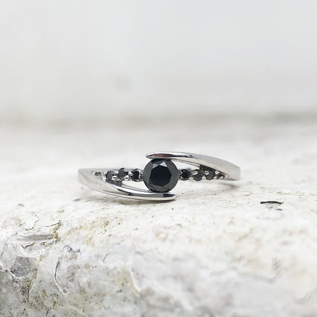 Delicate Split Shank Black Diamond Ring