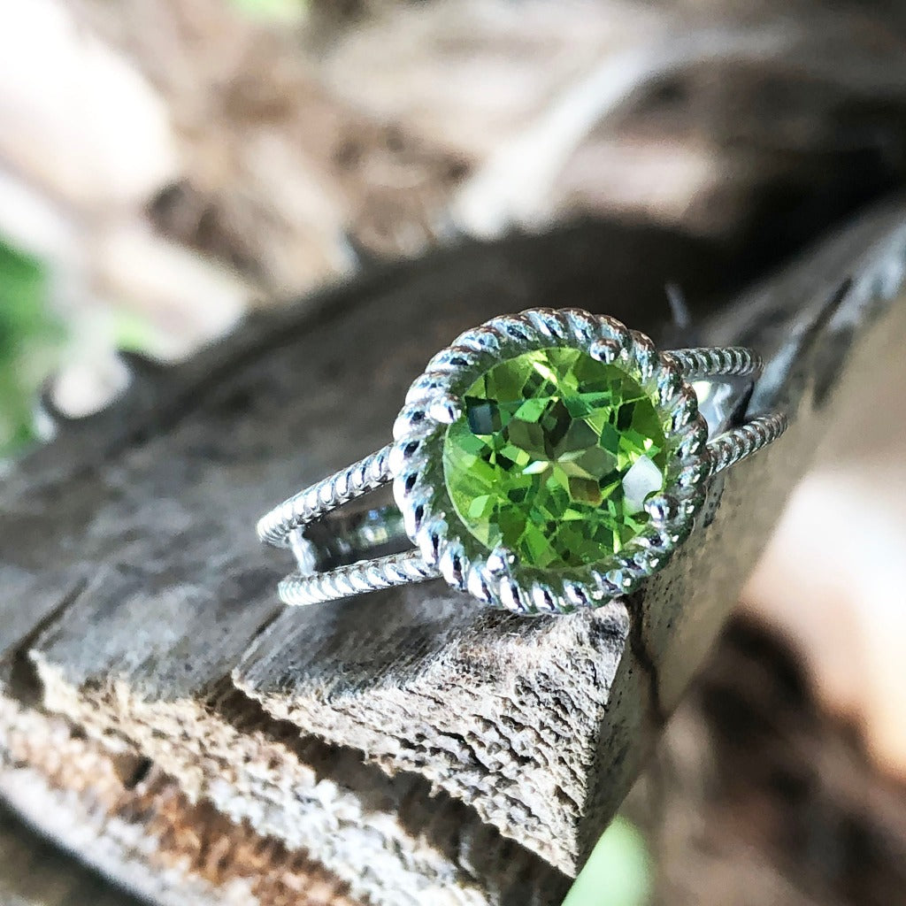 Round Cut Peridot and Twisted Silver Ring