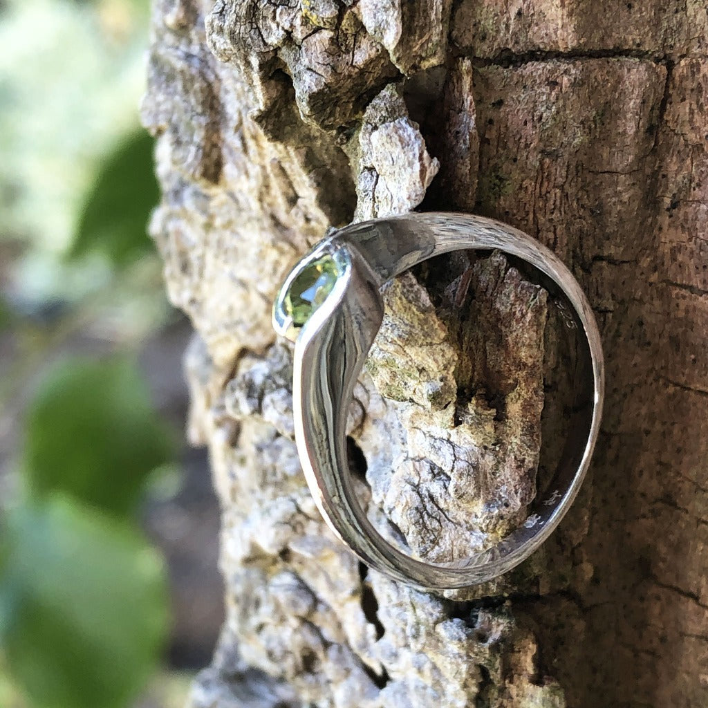 Silver Solitaire Peridot Ring