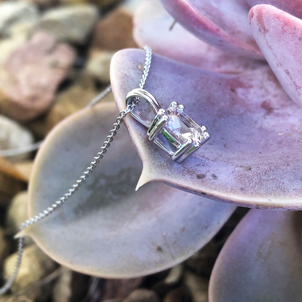 Cushion Cut Morganite Pendant with Fixed White Gold Bale