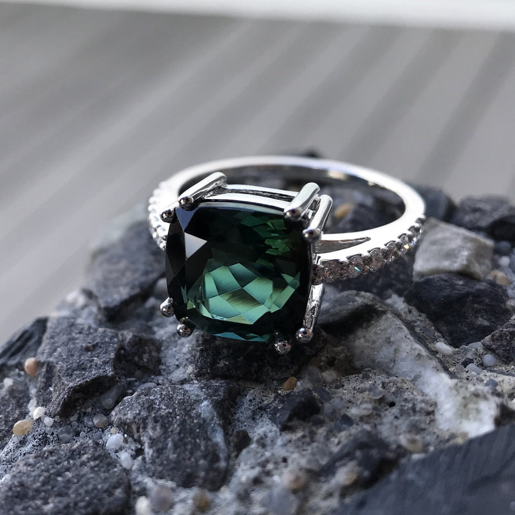 Cushion Cut Green Tourmaline and Diamond Ring