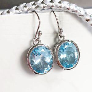 Silver Oval Tube Set Blue Topaz Drop Earrings