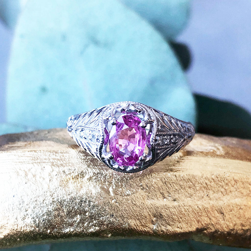 Leaf Filigree and Beaded Oval Pink Sapphire and Diamond Wedding Set