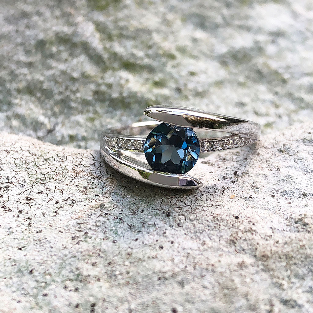 Symbolic London Blue Topaz and Diamond Split Shank Ring