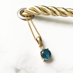 London Blue Topaz and Petite Diamond Pendant and Chain