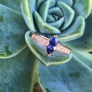 Gorgeous Marquise Tanzanite and Diamond Shouldered Rose Gold