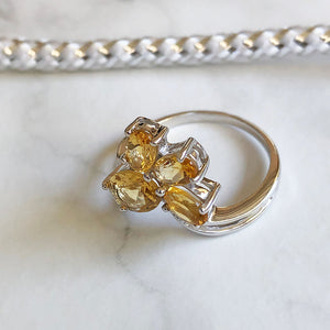 Mixed Cut Oval Citrine Floral Silver Ring
