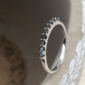 Delicate Black Diamond Stacking Ring