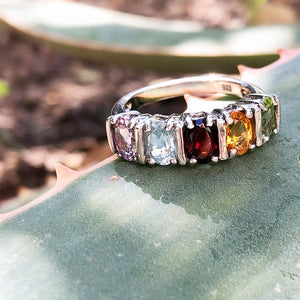 Rainbow Multi-Stone Oval Cut Silver Bar Ring