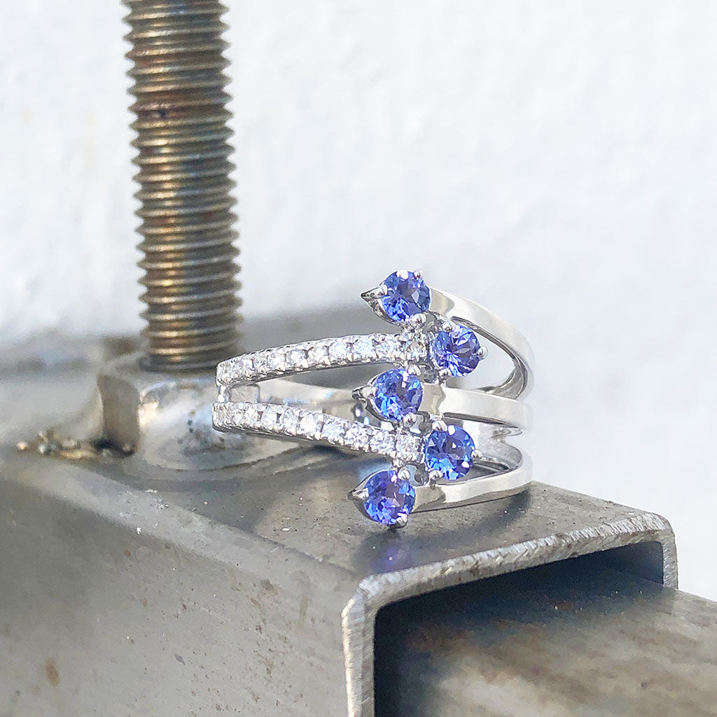 Multiband Tanzanite and Diamond Ring