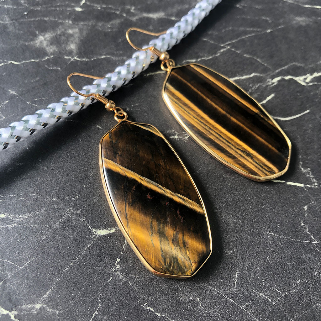 Organic Rectangular Shaped Tigers Eye Gold Plated Silver Drop Earrings