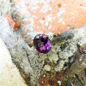 Oval Cut Amethyst Ring with Petite Diamond Accents