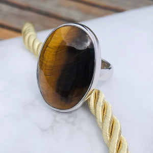 Oval Cut Golden Tigers Eye Silver Ring