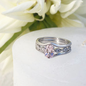Oval Cut Morganite and Diamond Accent White Gold Triplet Wedding Set