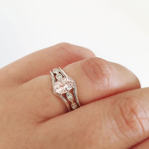 Oval Cut Morganite and Diamond Accent White Gold Milgrain Triplet Wedding Set