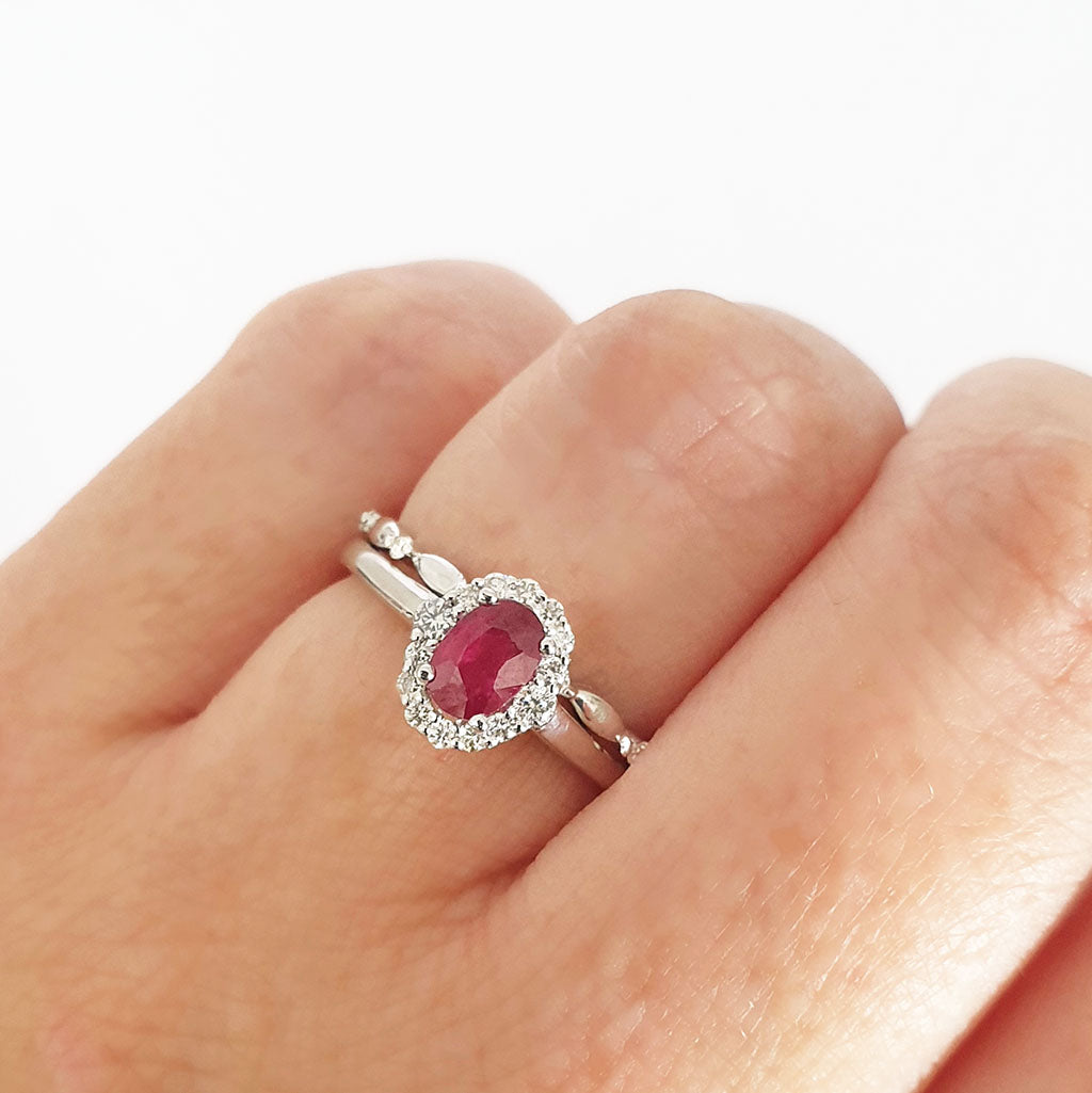 Oval Ruby and Diamond Halo Engagement Ring with Diamond Crimped Wedding Band Set