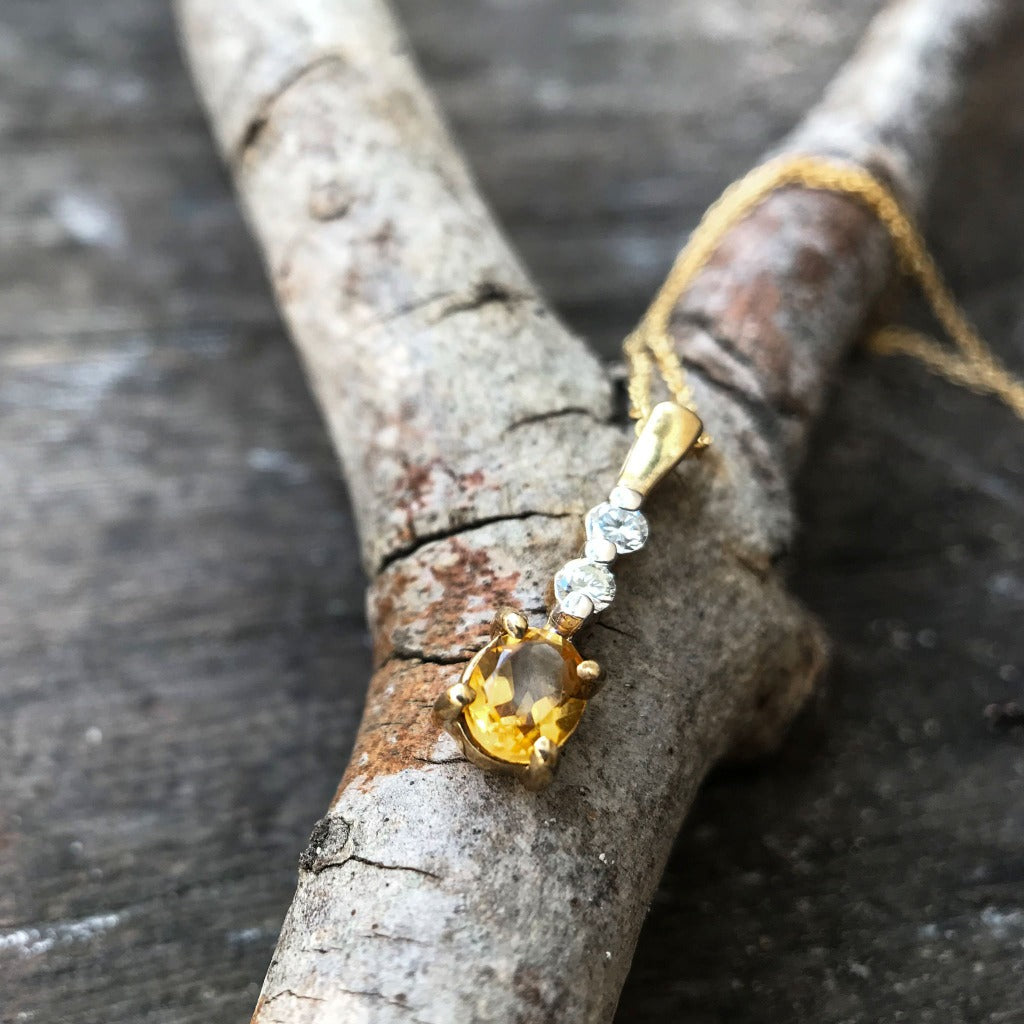 Petite Oval Cut Citrine and Diamond Pendant