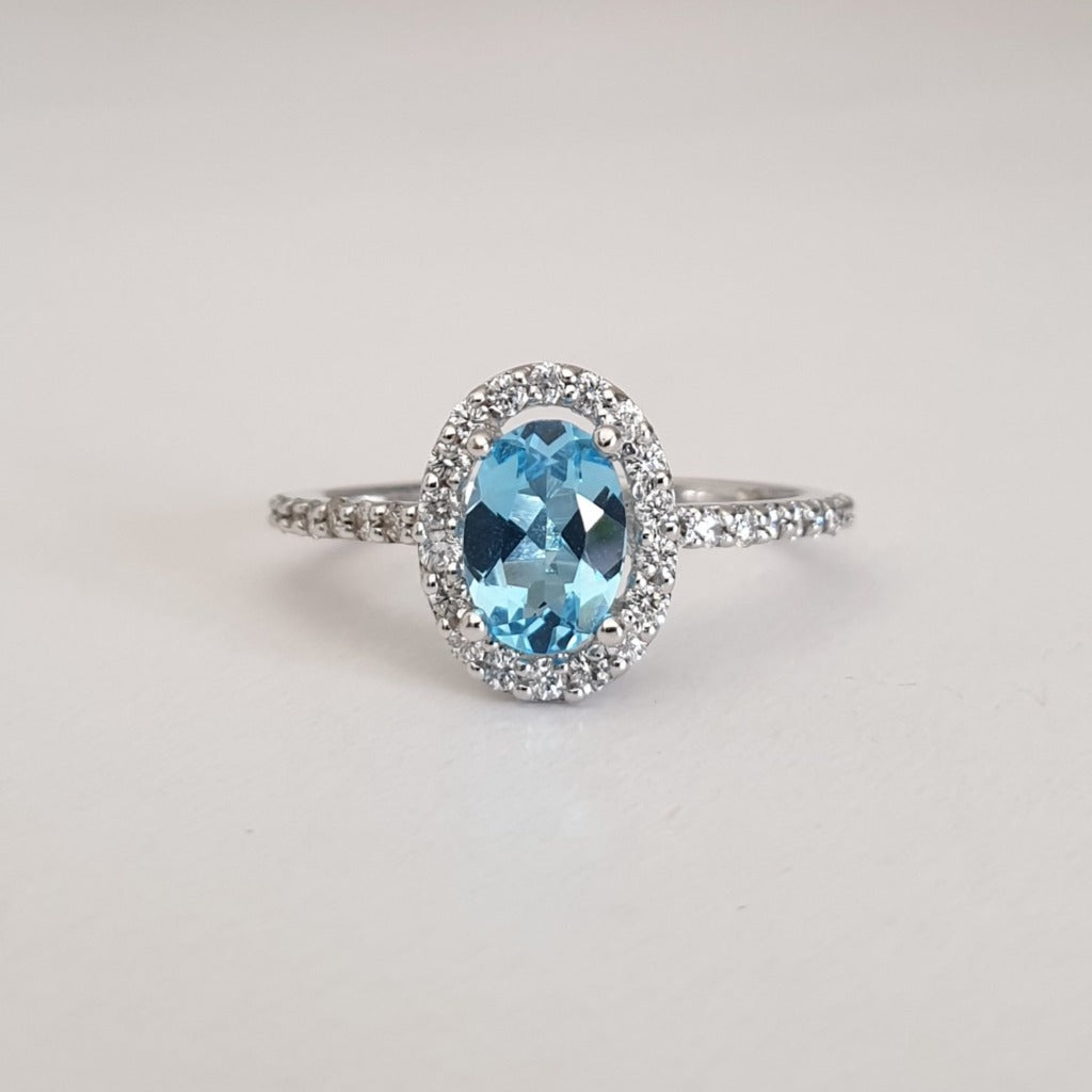 Pedestal Set Blue Topaz and Diamond