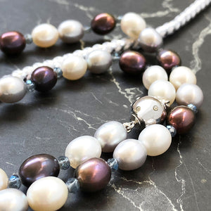 Peacock and Pastel Pink and Grey Rice Pearl Necklace